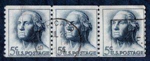 US Scott #1229 5c George Washington coil Strip of 3 (1963) Used