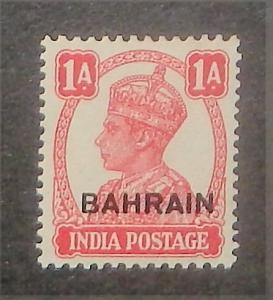 Bahrain 41. 1942-44 1a Carmine rose KGVI