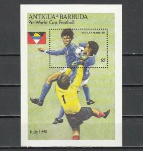 Antigua, Scott cat. 1222. Italy `90 World Cup Soccer s/sheet.