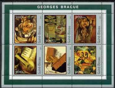 Guinea-Bissau MNH S/S Braque Paintings 2001 6 Stamps