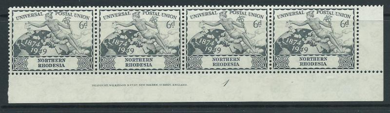 Northern Rhodesia  SG 52 MUH  Corner Bottom strip x4 Plate 1