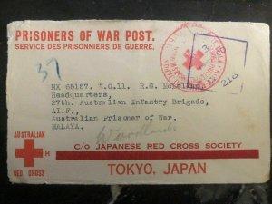 1940s Tullamore NSW Australia To Malaya Japan POW Prisoner of War Camp Cover