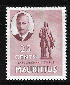 Mauritius 243: 25c Statue of Mahe La Bourdonnais, MH, VF