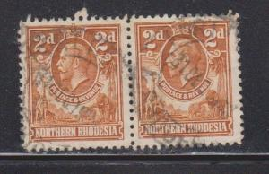 NORTHERN RHODESIA Scott # 4 Used Pair - KGV