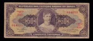 Brazil,Republica dos Estados Banknote (1956) With Estampa Circle 1A / Circulated