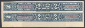 Newfouldland - 2 Dundes of Tobacco Mint Strip C1687619 - C1687620 Imperf Pair