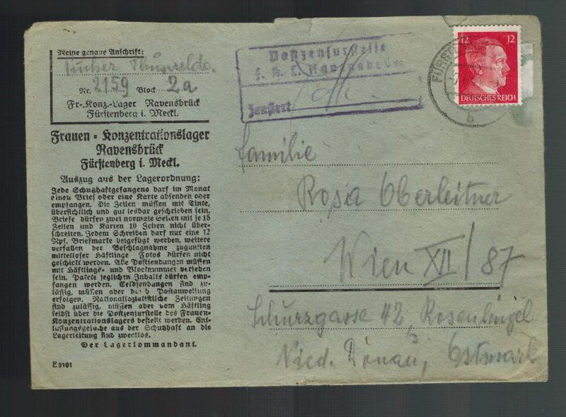 1944 Germany Ravensbruck Concentration Camp Cover KZ to Vienna