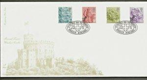 23/4/2001 SET OF 4 NEW ENGLISH EMBLEM 2nd,1st,'E' & 65p DEFINITIVES FDC