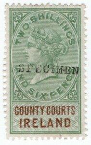 (I.B) QV Revenue : County Courts Ireland 2/6d (specimen)