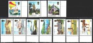 Guernsey. 1985. 325A-34A. Tourism, cricket, ships. MNH.