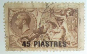 British Office in Turkey 45 piastres overprint Hi CV Scott #62 Free US Shipping