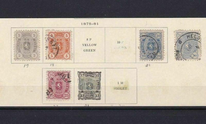 FINLAND 1875 - 81   STAMPS  ON PART PAGE CAT £100+   REF 5731