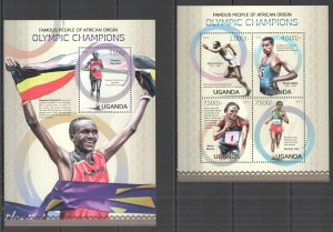UG069 2013 UGANDA OLYMPIC CHAMPIONS OF AFRICAN ORIGIN #3055-8+BL424 MNH