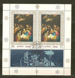 Ajman Christmas 1968 Souvenir Sheet CTO