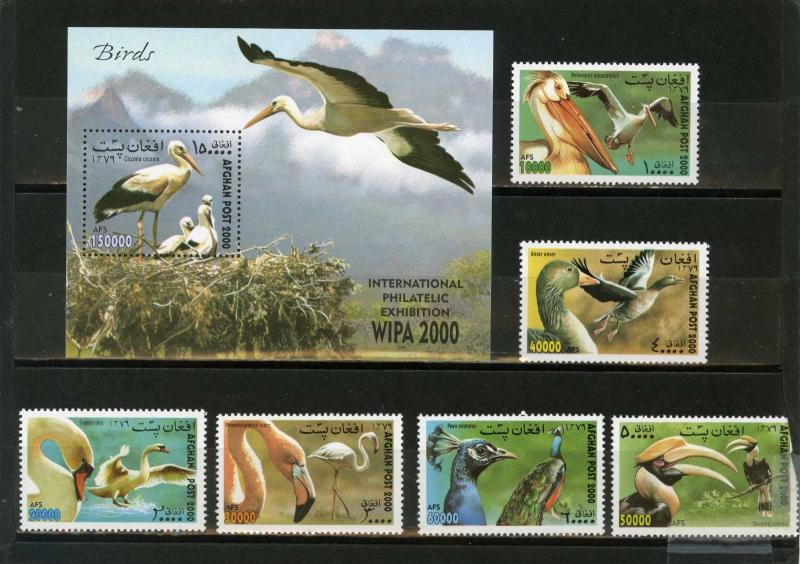 AFGHANISTAN 2000 Mi#1944-1949,Bl.119 FAUNA BIRDS SET OF 6 STAMPS & S/S MNH