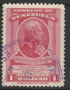 Venezuela 1950 1b used South America A4P53F67