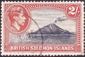 BRITISH SOLOMON ISLANDS 1939 KGVI 2/- Black & Carmine SG69 FU