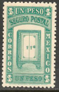 MEXICO G3, $1PESO INSURED LETTER. MINT, NH. F-VF