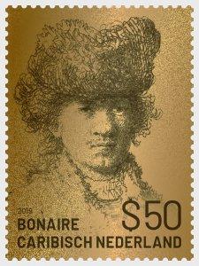 Stamps Caribbean Netherlands 2019. - Golden Stamp of Rembrandt of Bonaire - Coll