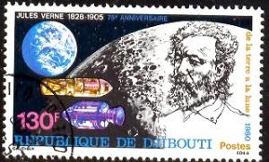 Jules Verne, French Science Fiction Writer, Djibouti SC#518 used