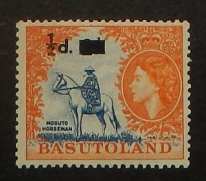 Basutoland 57. 1959 1/2p on 2p Orange and deep blue QE, NH