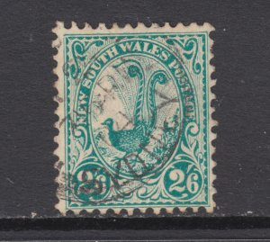 New South Wales SG 326 used. 1903 2sh6p green Lyre bird, fresh, bright, F-VF.