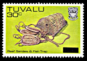 Tuvalu 230, MNH, Surcharge on Sandals and Fish Trap definitive