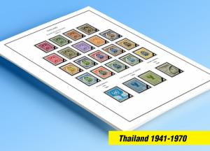 COLOR PRINTED THAILAND 1941-1970 STAMP ALBUM PAGES (29 illustrated pages)