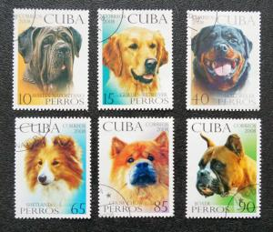CUBA Sc# 4851-4856  DOGS canines Complete set of 6  2008  used / cancelled