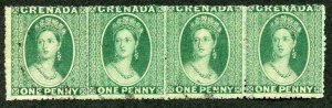 Grenada SG18 1d Pale Green (thin paper) Small Star upright Rough Perf 15