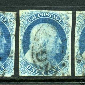 Scott #7 Franklin Imperf Used Stamp (Stock #7-10)