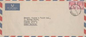 Singapore 35c KGVI (2) 1954 Singapore Airmail to London, England.  Some edge ...