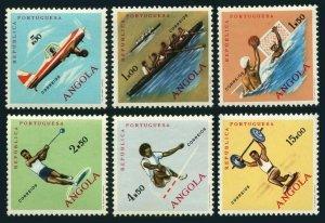 Angola 433-438,MNH.Michel 441-446. Sport 1962.Flying,Rowing,Polo,Hammer,Jump,
