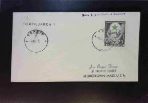 Yugoslavia 1953 TROGIR Paquebot Cover to USA / Torpiljarka 1 - Z1750