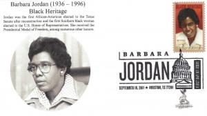 Barbara Jordan First Day Cover, with b&w postmark