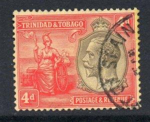 Trinidad 1922 KGV 4d wmk MCCA SG 216 used CV £21