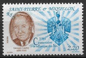 St.Pierre & Miquelon 1989, George Landry, Scott # 520,VF MNH**OG (SL-1)