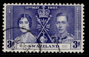 SWAZILAND GVI SG27, 3d blue, FINE USED.