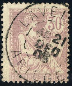 FRANCE - 1905 - CàD  LAVELANET / ARIÈGE  /Yv.128/Mi.106 30c Mouchon Retouché