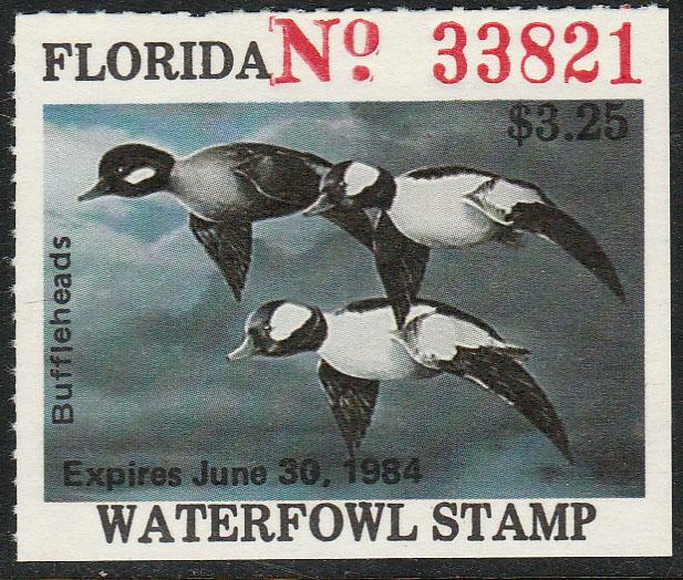 U.S.-FLORIDA 5, STATE DUCK HUNTING PERMIT STAMP WITHOUT TAB. MINT, NH. VF