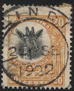 TANGANYIKA  1922 Sc 15 20c Used  Giraffe F-VF SOTN LINDI postmark/cancel