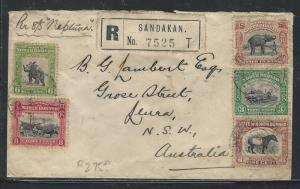 NORTH BORNEO (PP0204B) 1935 6C RHINO+5C ELEPHANT+3C TRAIN ++ REG TO AUSTRALIA