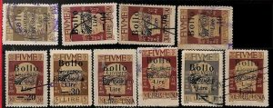 94711a  - ITALY Fiume -  STAMPS - Lot of 10 ORDINARY stamps with REVENUE ovrpt