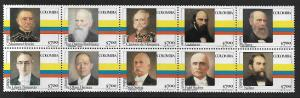 COLOMBIA 890, 890a MNH BLOCK OF 10