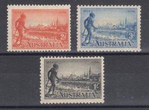 Australia Sc 142-144 MLH. 1934 Centenary of Victoria, complete set, F-VF