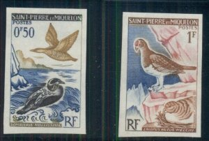 ST. PIERRE & MIQUELON #362-3 Birds, scarce IMPERF, og, LH