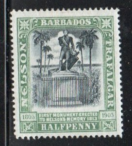 Barbados Sc 103 1906 1/2 d green & black Nelson Monument stamp mint