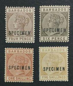 MOMEN: BARBADOS SG #99s-103s SPECIMEN MINT OG H/1NH(1sh) LOT #191444-263
