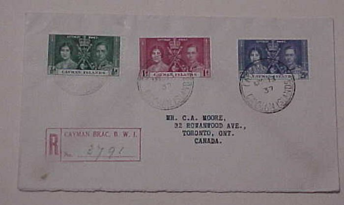CAYMAN  KING GEORGE VI CORONATION 1937 MAY 13  REGISTERED FDC