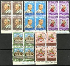 NICARAGUA 1966 VATICAN II Ecumenical Council Set BLOCKS OF 4 Sc C591-C595 MNH